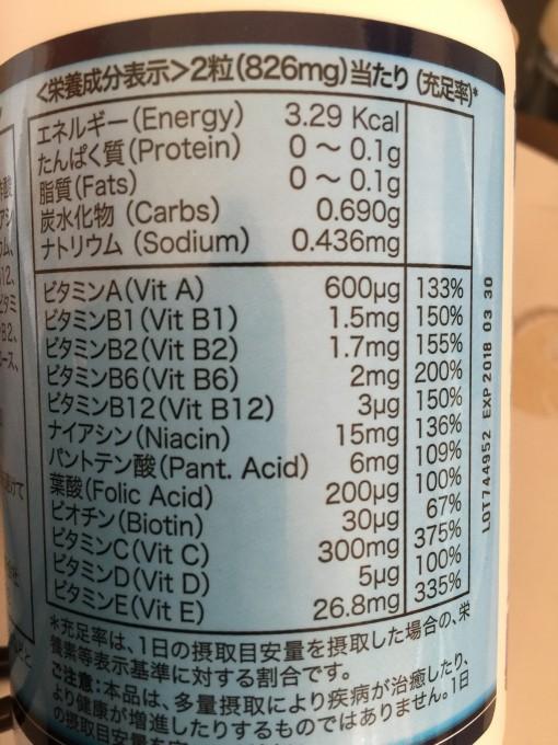 マルチビタミン剤成分表